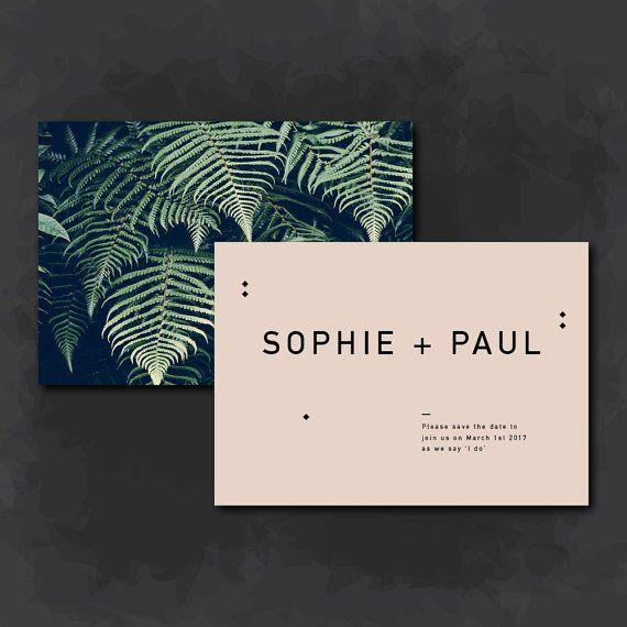 Save the Date | Blush pink and leaves printable | DIY print | Wedding