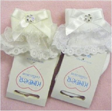 How cute are these frilly socks! Perfect to compliment any little girls christening outfit
