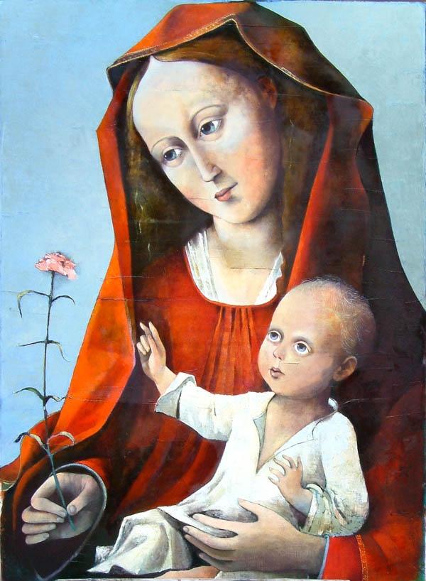 madonna met rode anjer door Francis Kilian