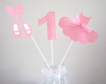 3 Ballerina Birthday Party Centerpiece by sweetheartpartyshop