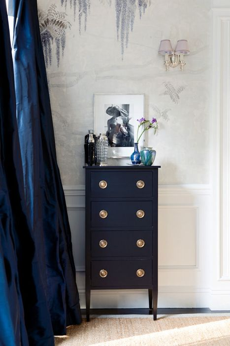 Duponi silk curtains keep beautiful company with one very chic Federal end table in game changing navy blue.