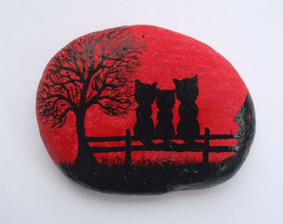 Painted Pebble Magnet: Cats Painting on Stone, Pebble Art, Hand Painted Cats on…
