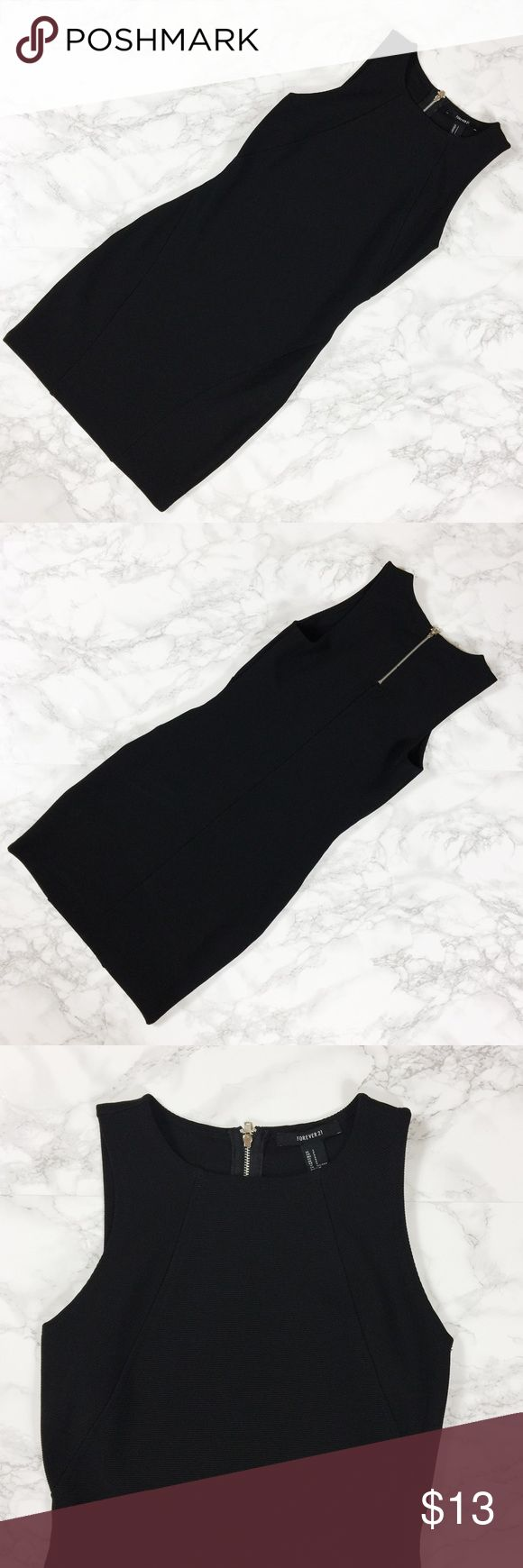 Forever 21 Ribbed Bodycon Dress Black bodycon dress with ribbed fabric. Exposed silver zipper. Only worn once. Forever 21 Dresses