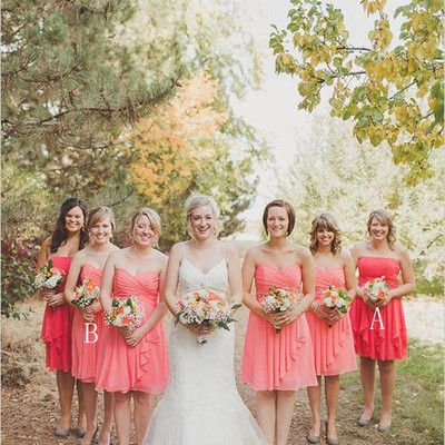 Rustic bridesmaid dress chic strapless coral gown blush pink chiffon knee length bridesmaid dresses for wedding,pd160081  #bridesmaiddress#fashion#promdress#shopping#eveningdress#promgowns