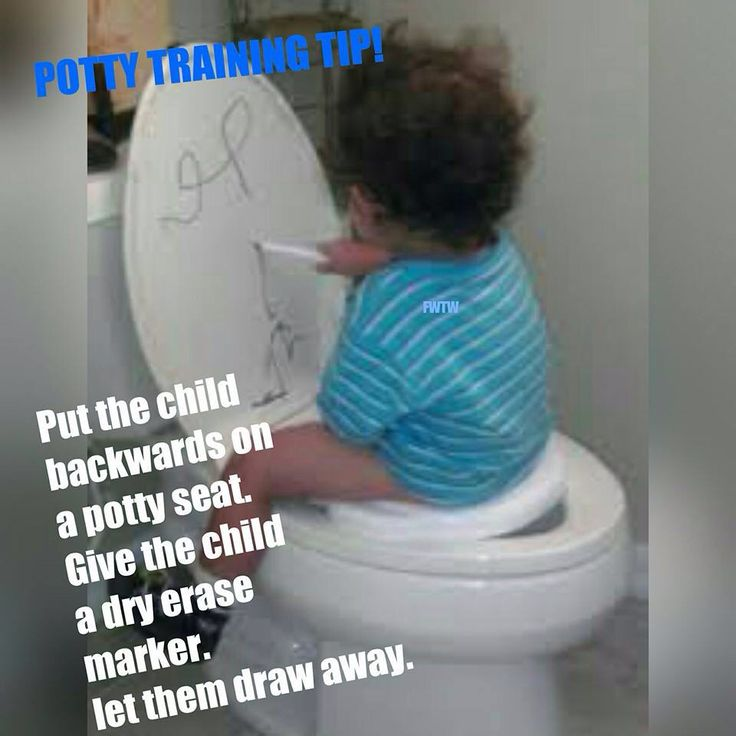 Put The Child Backwards On A Toilet Seat Give The Child A