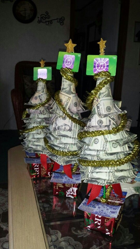 Money trees with lottery tickets as gifts.  Very easy to make and fun.