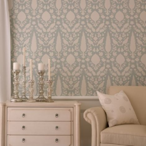 Schumacher wallpaper chenonceau in aquamarine home for Schumacher chenonceau charcoal wallpaper