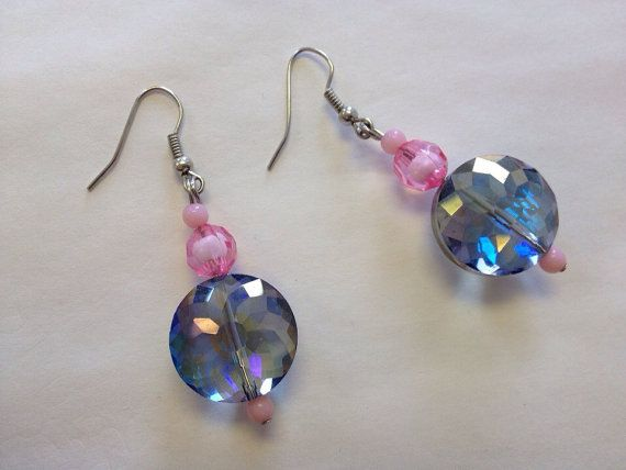 Pink Crystal Beaded Earrings Pink Bead Crystal by StarBoundWestern