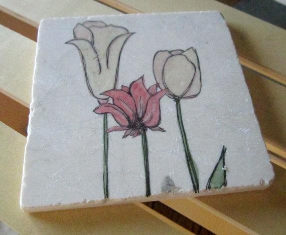 A Garden of Tulips Trivet