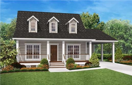 This is a colored rendering of these Cape Cod House Plans.