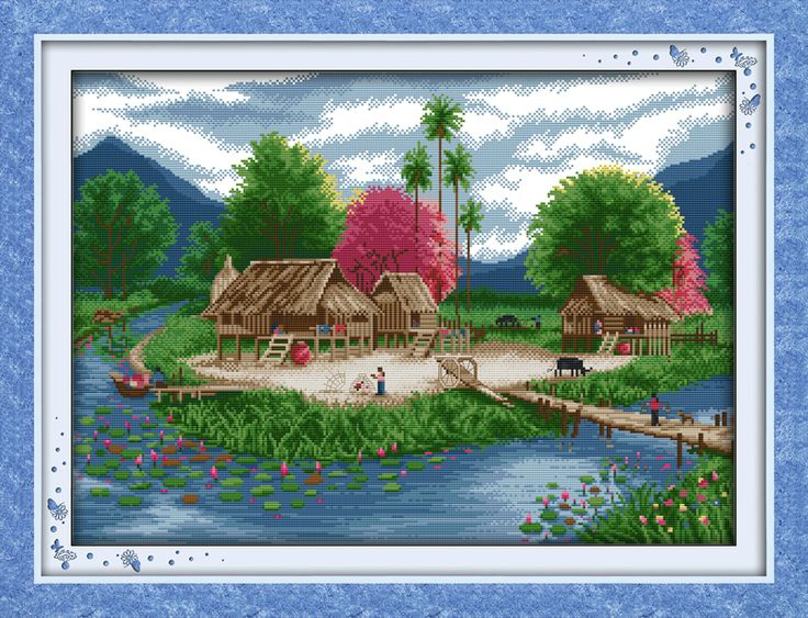 Spring Lakeside Patterns Counted Cross Stitch 11CT 14CT Cross Stitch Set Wholesale Cross-stitch Kits Embroidery Needlework