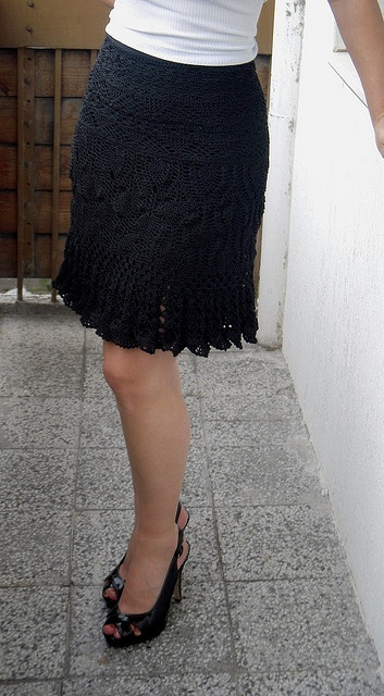 shenevski's Black crochet skirt-no pattern available but used shiny lang Opan yarn.  Might be a good one to stock?
