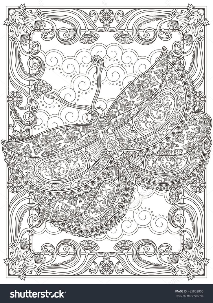 Graceful Adult Coloring Page, Magnificent Moth With Floral Decorations. Anti-Stress Pattern For Coloring. Stock Photo 485852806 : Shutterstock