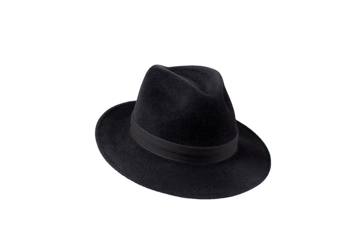The Amber Trilby Collection | Charcoal Black | Double Black Herringbone Band www.penmayne.com #trilby #hats #accessories