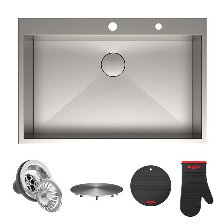 Pax Drop-in Stainless Steel 33 in. 2-Hole Single Bowl Kitchen Sink, Satin