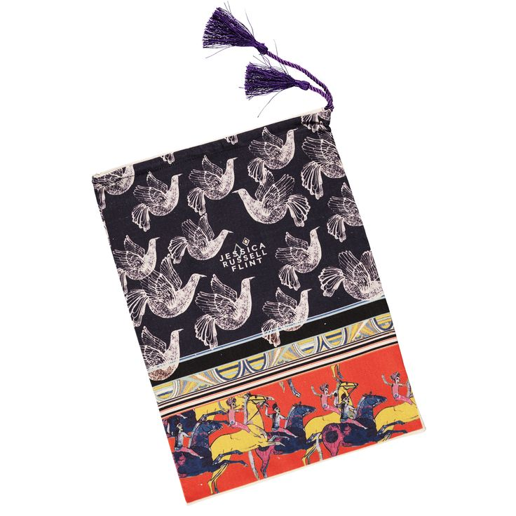 Jessica Russell Flint Tasseled cotton drawstring bag: A lovely bag in two great designs. Perfect for keeping underwear, shoes, nappies and toys. Comes in a gorgeous tasseled gift box. Choose from A: Toucan or B: Bird/Horse pint