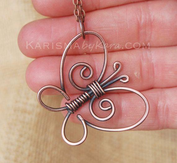 Butterfly Necklace. Copper Butterfly. Wire by Karismabykarajewelry, $39.00