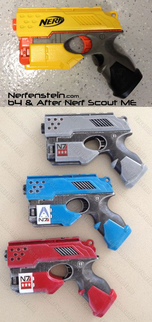 Nerf Scout pistol done Mass Effect N7 Normandy style.