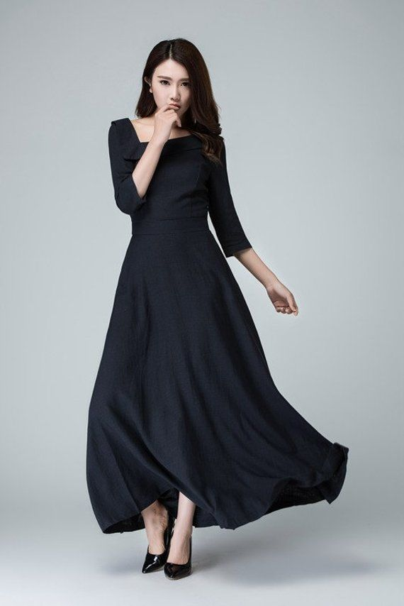 a50848643c Navy blue dress Linen dress maxi dress long linen dress