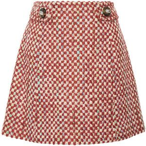 Prada Wool and cotton-blend tweed mini skirt