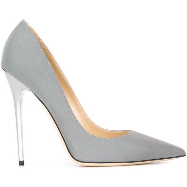Jimmy Choo 'Anouk' pumps ($565) ❤ liked on Polyvore featuring shoes, pumps, heels, footwear, zapatos, grey, pointed toe stilettos, grey pointed toe pumps, pointed-toe pumps and pointy toe stiletto pumps