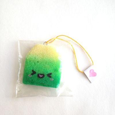 Homemade kawaii green tea bag squishy