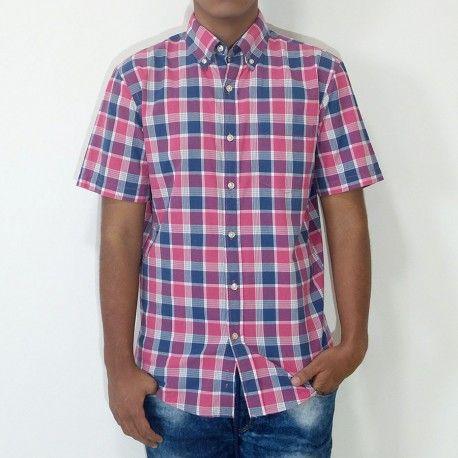 Camisa Sonoma manga corta con bolsillo a cuadros rosado