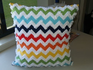Chevron cushion with Chenille Tape - Margaret's Child