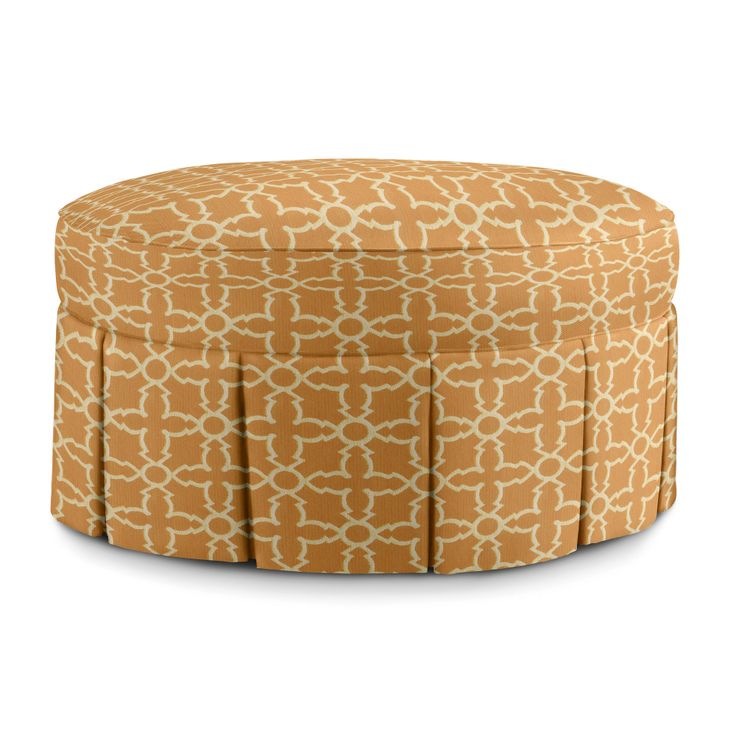 Ava Skirted Ottoman in Plaza Bittersweet | Fine Furniture, Ottomans from Company C