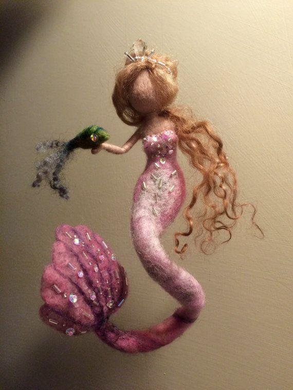 Needle felted mermaid, Waldorf inspired, Wool felted doll, Pink, Art doll, Sea mermaid,Children room, Home decor, Gift