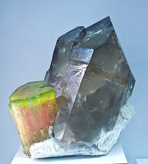 Smoky Quartz and Watermelon Tourmaline  Mineral Friends <3