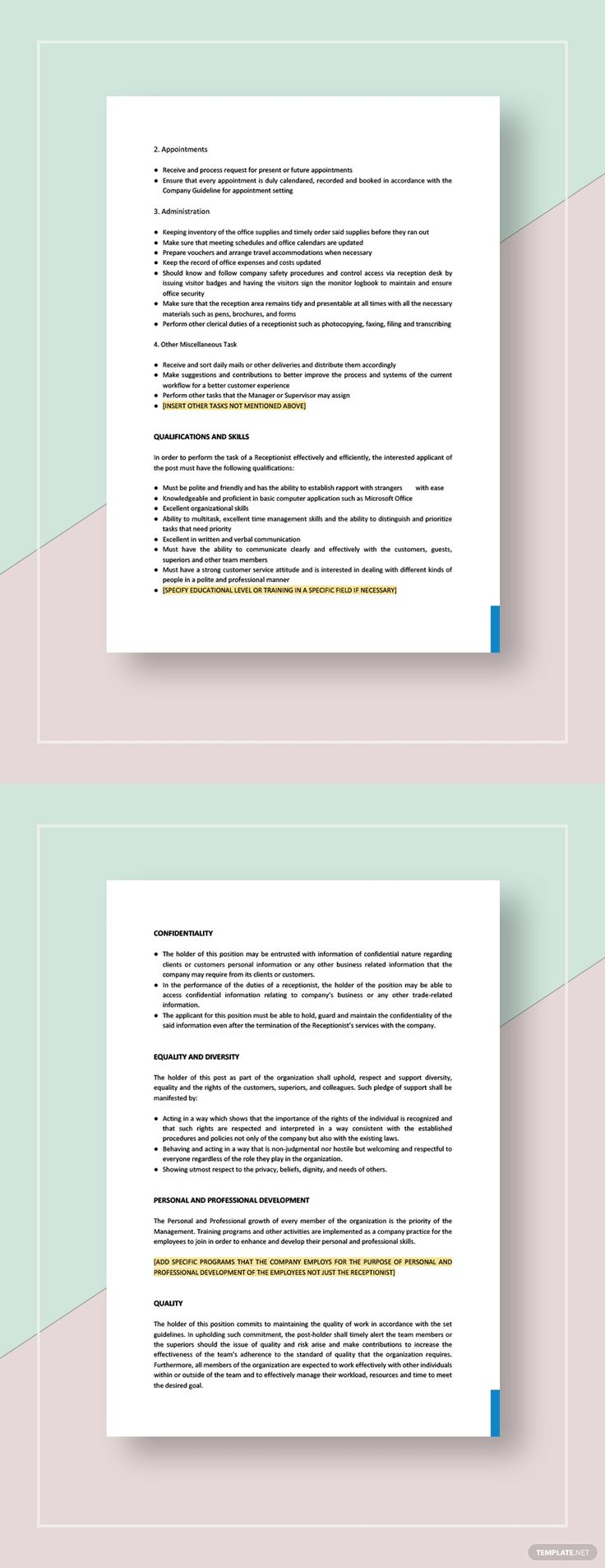 Receptionist Job Description Template AD, , affiliate,