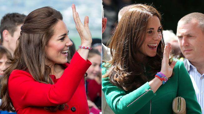Kate Middleton con pulseras de hilo