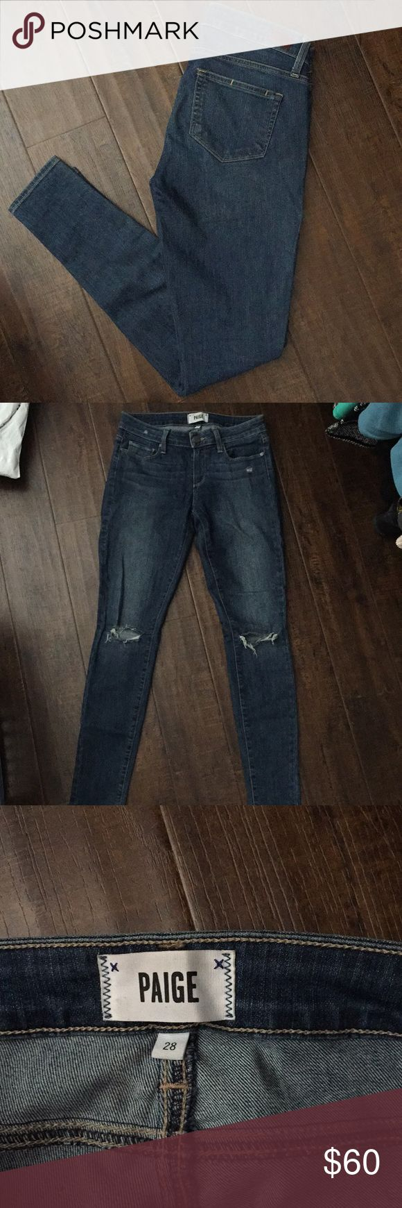 Paige jeans Like new Paige jeans. Rips on both knees. Feel free to make an offer :) PAIGE Jeans Skinny