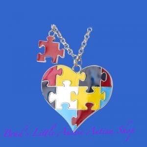 Bright puzzle heart fashion necklace - Brad's Little Aussie Autism Shop