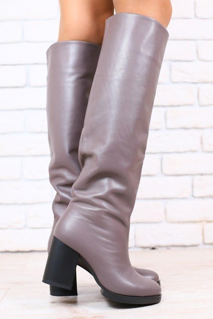 b4bf8a5af813 код: 2885-2 Зимние женские сапоги-европейка, кожаные, на каблуке ...