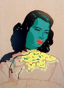 SUPERB ORIGINAL JOHN HARRISON GREEN LADY VLADIMIR TRETCHIKOFF TRIBUTE PAINTING