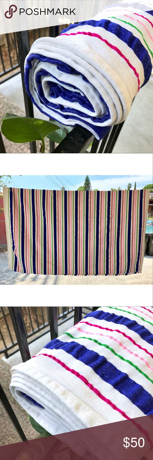 "Handmade Ethnic Bright Stripes Beach Towel/Blanket Bought in Guatemala, it's brand new! This beautiful traditional blanket is a soft towel like slightly thick, texture material • Measurements: Length: 71"" x Width: 62""   Tags: Coachella, hipster, hippie, vintage, retro, boho, trendy, 60s, 70s, 80s, 1990s, yoga, summer, winter essentials, mexican, mexico, indian, mandala, picnic, camping Ketzali Accessories"