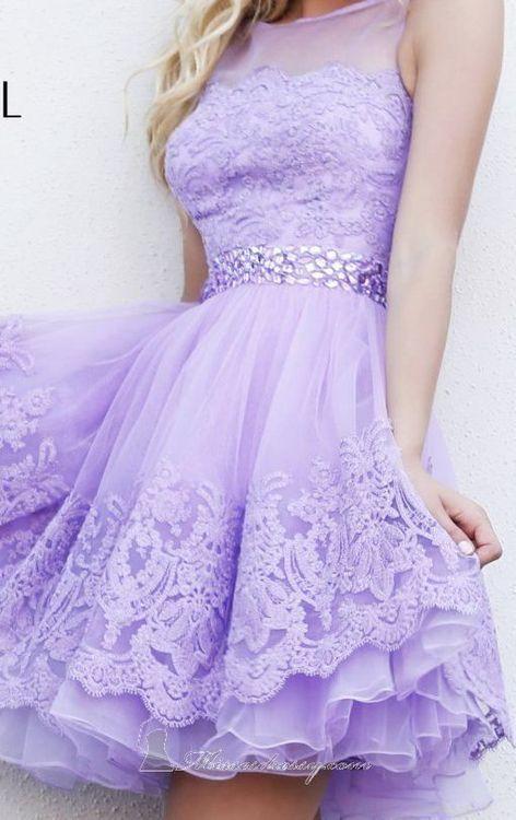 renda lilás - vestido acinturado