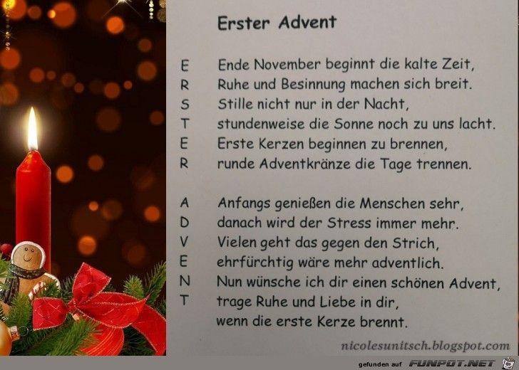 Gedicht Erster Advent Advent Sprüche Advent Und