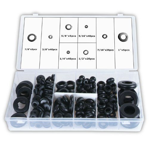 Ansen Tools AN-184 Rubber Grommet Assortment, 180-Piece by Ansen Tools. $14.81. This is an assortment of 180 quality rubber grommets in 8 popular sizes. These grommets are ideal for automotive, marine and RV wiring jobs. The grommets are designed to protect wire and cables in metal junction areas. These grommets are essential for all applications that require wire or metal separation. The set includes: 40-Piece each of 1/4-Inch, 5/16-Inch and 3/8-Inch, 25-Piece of 7/16-Inc...