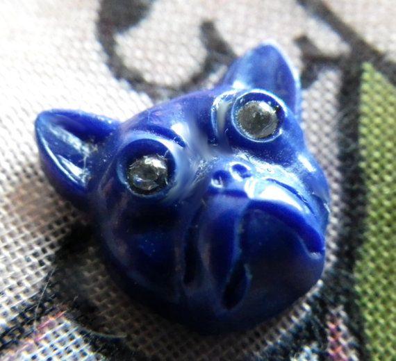 Cobalt Blue Bulldog Cabochons with Rhinestone Eyes Vintage 12mm 4 Pcs