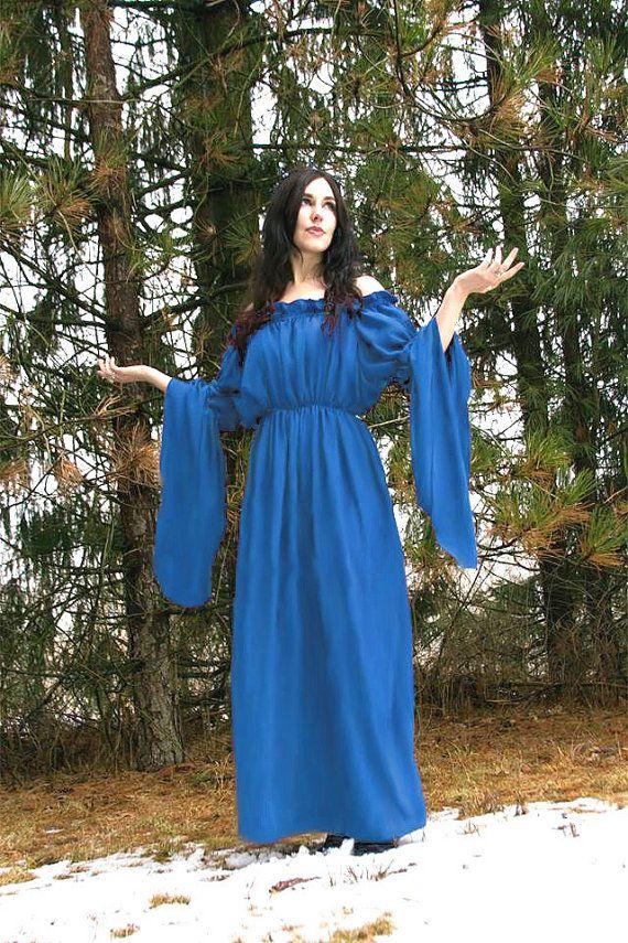 I-D-D Renaissance Medieval Peasant Dress Up Pirate Faire Celtic French Blue Chemise