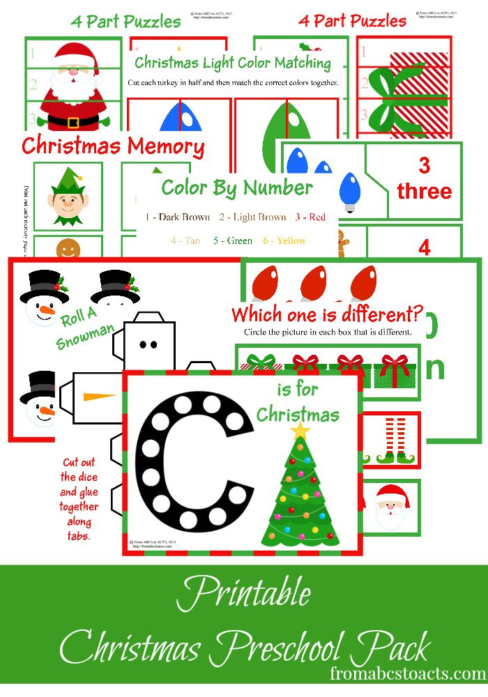 Printable Chirstmas Preschool Pack - From ABCs to ACTs