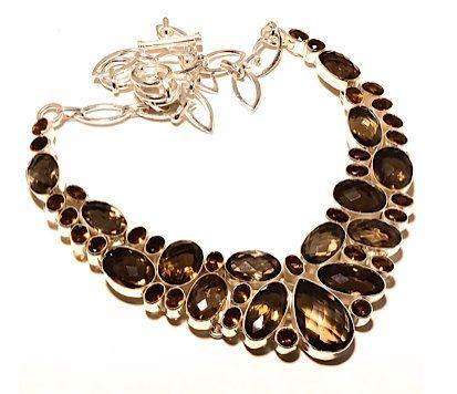 925 Sterling Silver Smoky Quartz Genuine Gemstone Dazzling Statement Bib Necklace!! by Ameogem on Etsy