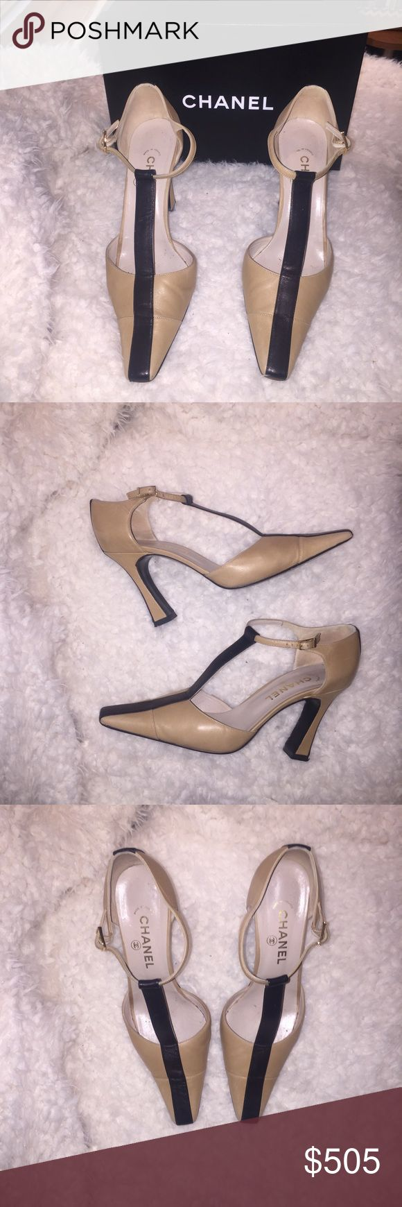 """Authentic Chanel two tone heels Used but in very good condition. Heel height is 4"""" CHANEL Shoes Heels"""