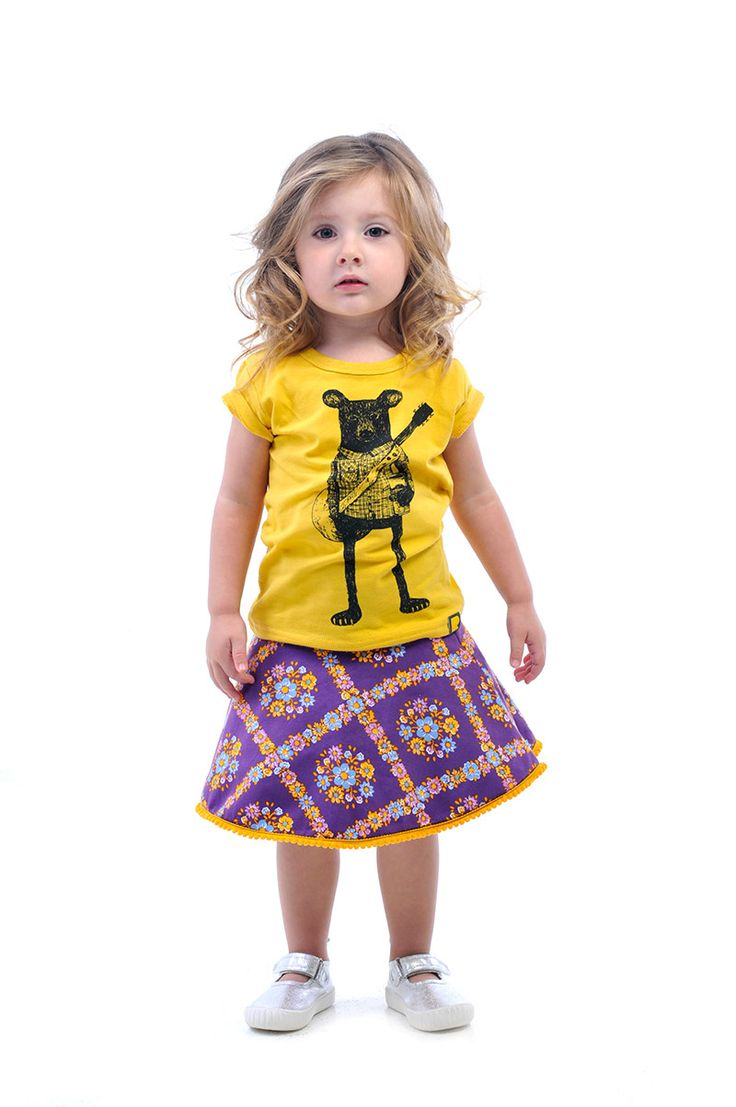 MIx it up with a cool-as Indy Bear tee and a pretty Circle Skirt in Purple Haze | Rock Your Kid summer 14 / 15 | Bear illustration by Erin Greenough.