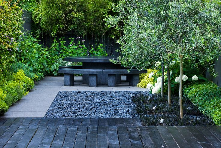 great mix of elements for a small backyard: Garden Ideas, Garden Design, Gardens, Urban Garden, Garden, Black, Small Garden