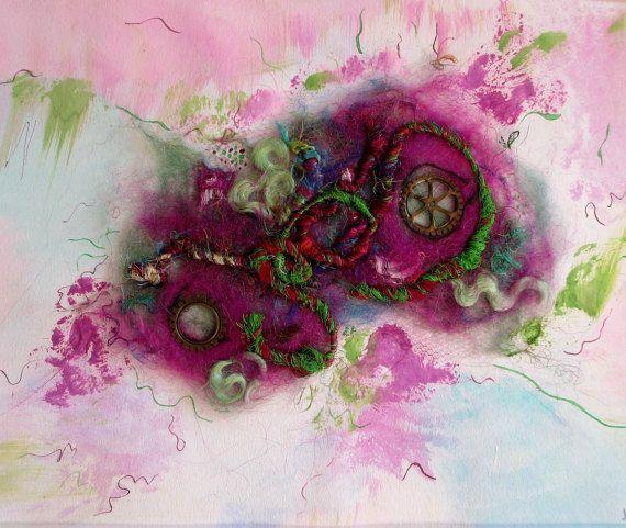 Art abstrait tableau en mix media feutrage et par ChezPasserose