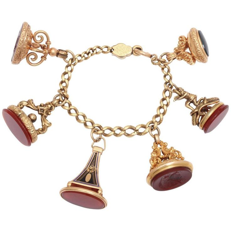 Six Imaginative Victorian Fobs and Bracelet from gloriousantiquejewelry on Ruby Lane